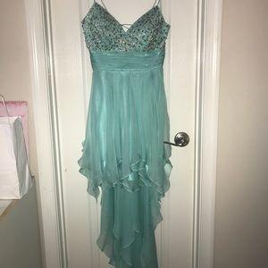 Embellished turquoise hi-low dress